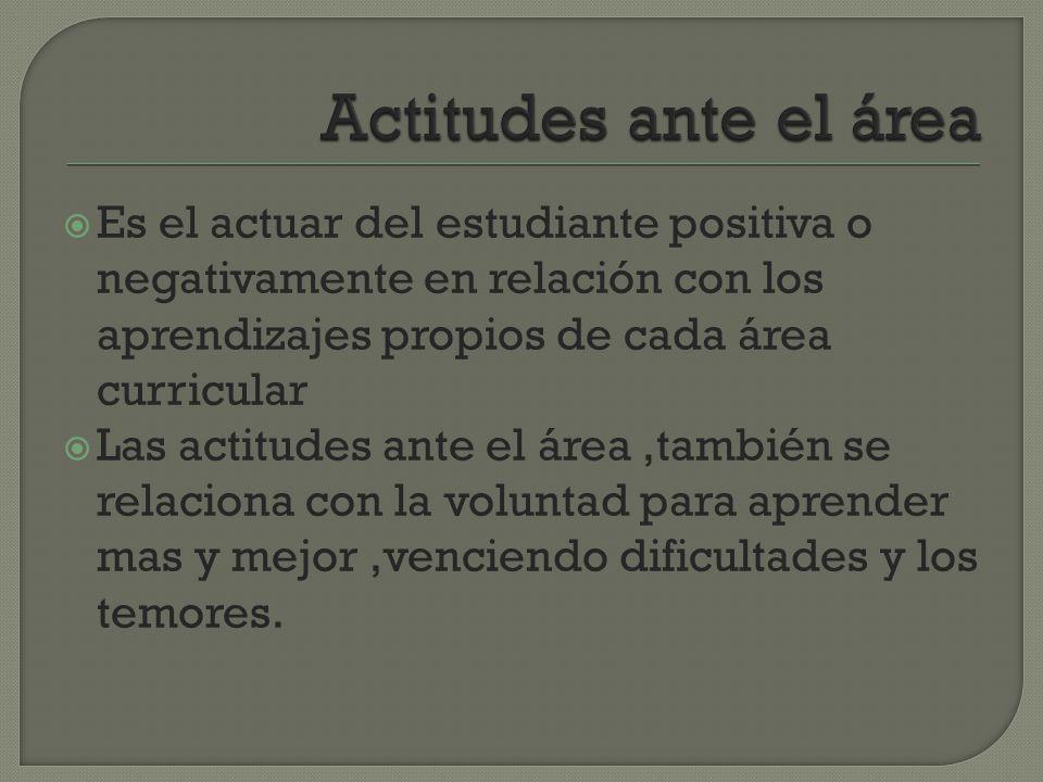 Actitudes ante el área Es el actuar del estudiante positiva o negativamente en relación con los aprendizajes propios de cada área curricular.