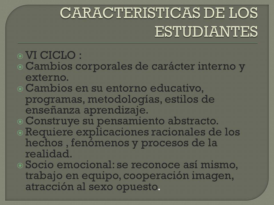 CARACTERISTICAS DE LOS ESTUDIANTES