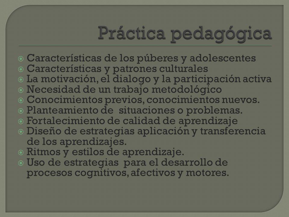 Práctica pedagógica Características de los púberes y adolescentes