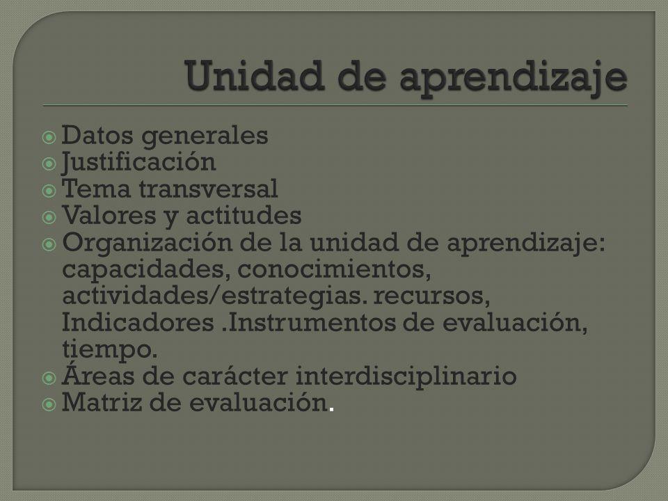 Unidad de aprendizaje Datos generales Justificación Tema transversal