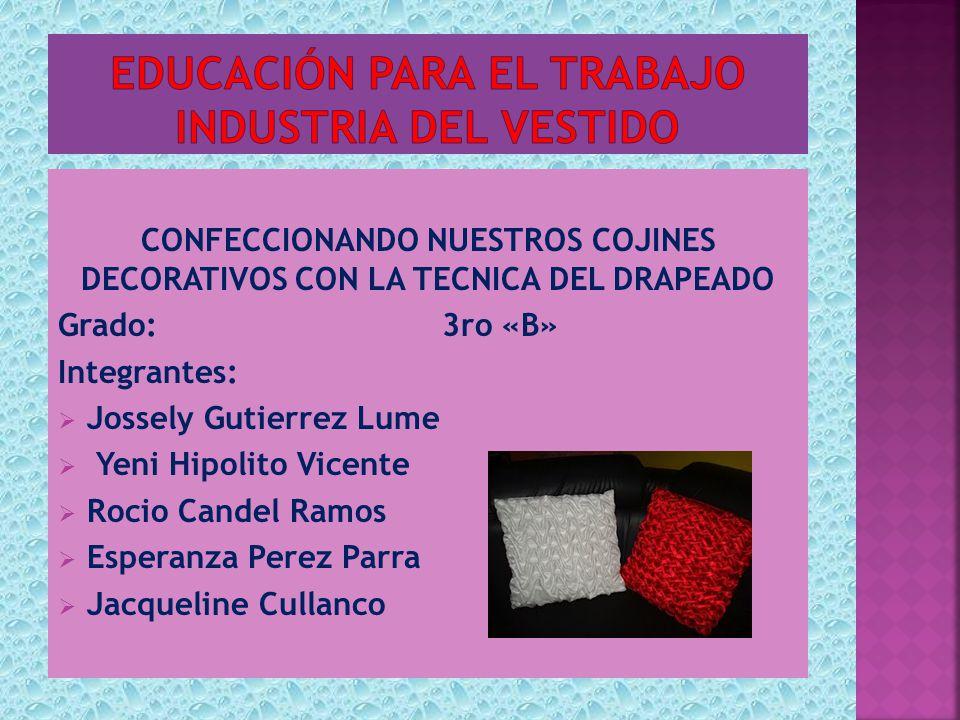 EDUCACIÓN PARA EL TRABAJO Industria del vestido