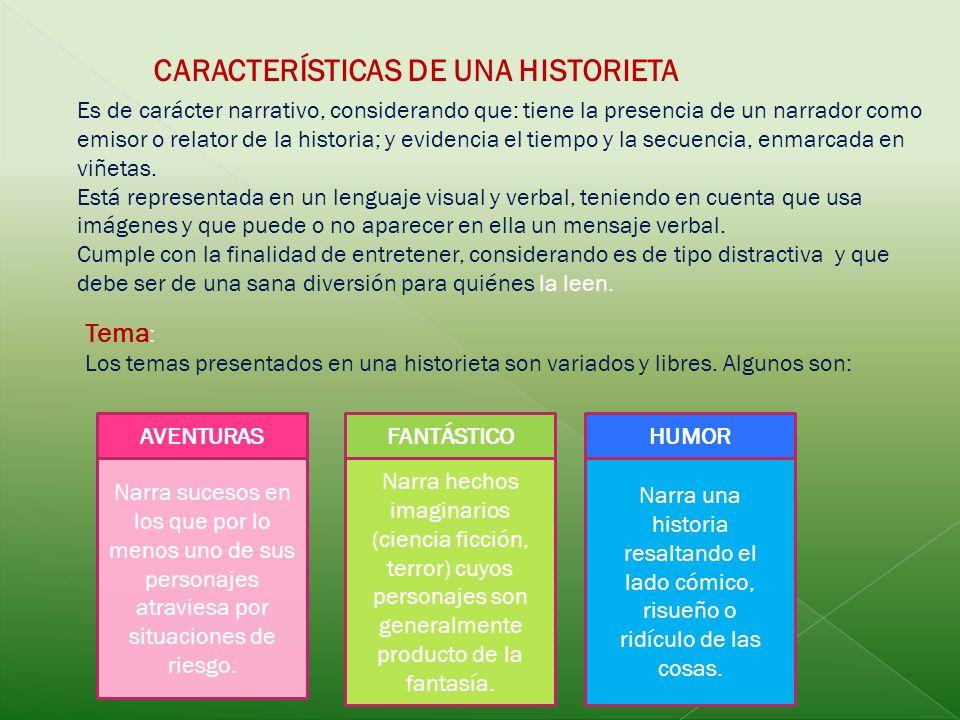 CARACTERÍSTICAS DE UNA HISTORIETA