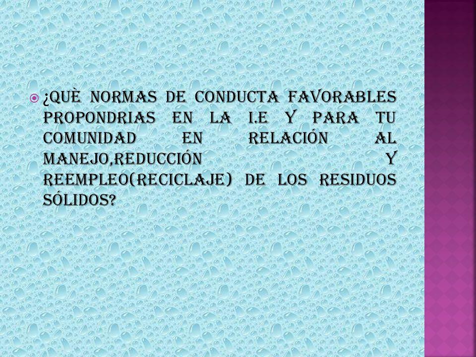 ¿QUÈ NORMAS DE CONDUCTA FAVORABLES PROPONDRIAS EN LA I