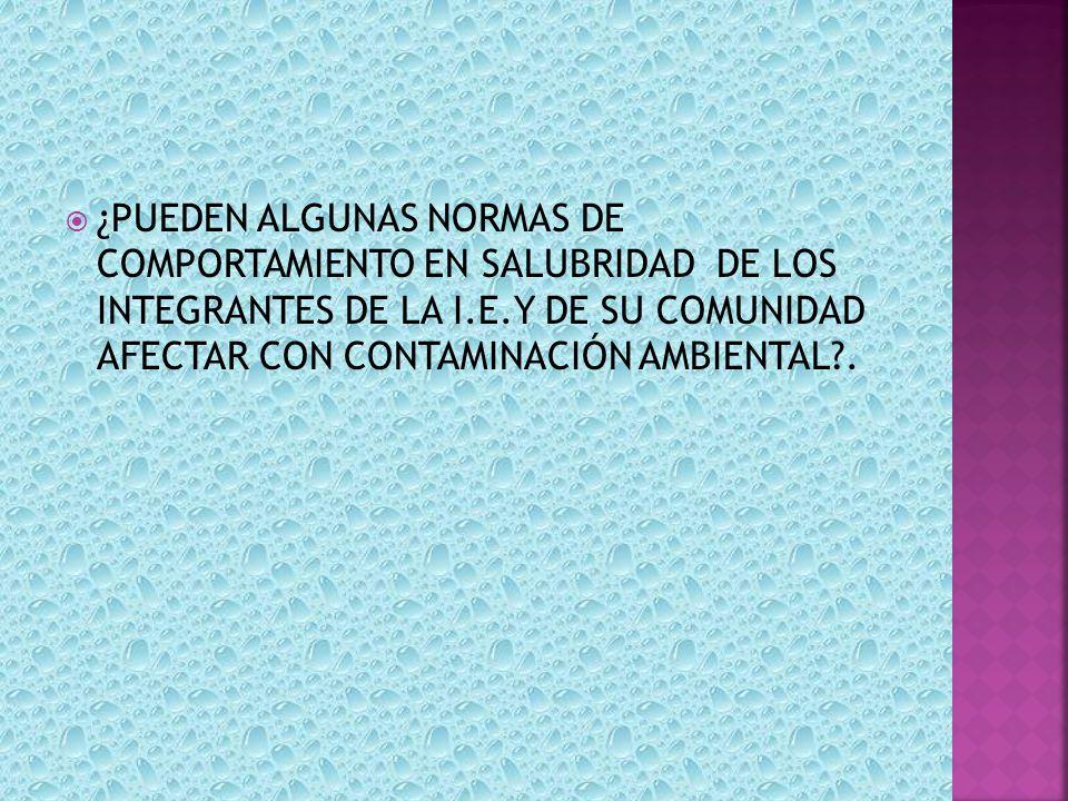 ¿PUEDEN ALGUNAS NORMAS DE COMPORTAMIENTO EN SALUBRIDAD DE LOS INTEGRANTES DE LA I.E.Y DE SU COMUNIDAD AFECTAR CON CONTAMINACIÓN AMBIENTAL .