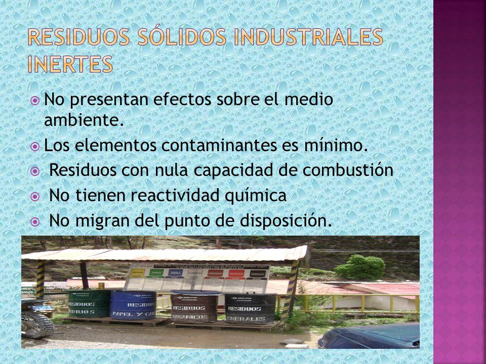 residuos sólidos industriales inertes