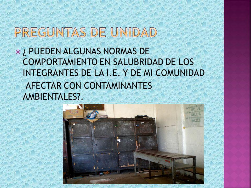 PREGUNTAS DE UNIDAD ¿ PUEDEN ALGUNAS NORMAS DE COMPORTAMIENTO EN SALUBRIDAD DE LOS INTEGRANTES DE LA I.E. Y DE MI COMUNIDAD.