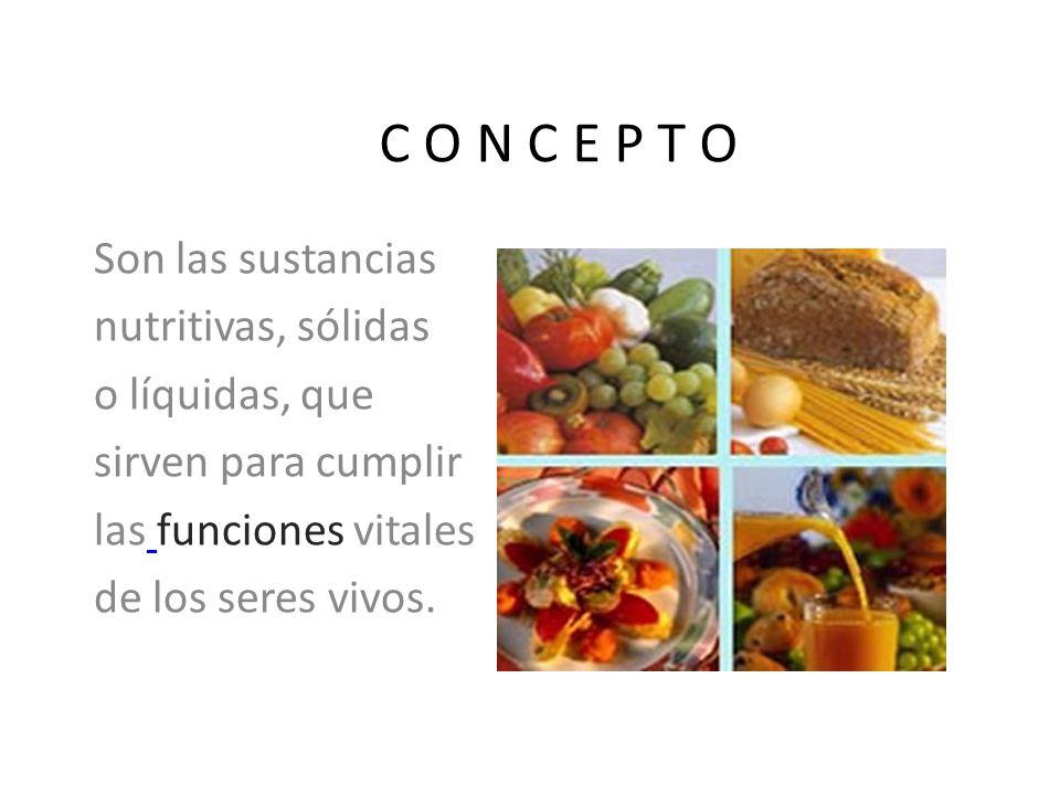 C O N C E P T O Son las sustancias nutritivas, sólidas o líquidas, que