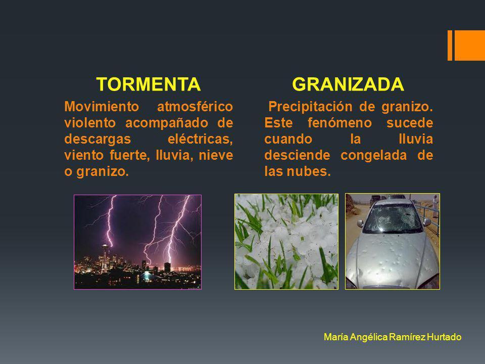 TORMENTA Movimiento atmosférico violento acompañado de descargas eléctricas, viento fuerte, lluvia, nieve o granizo.