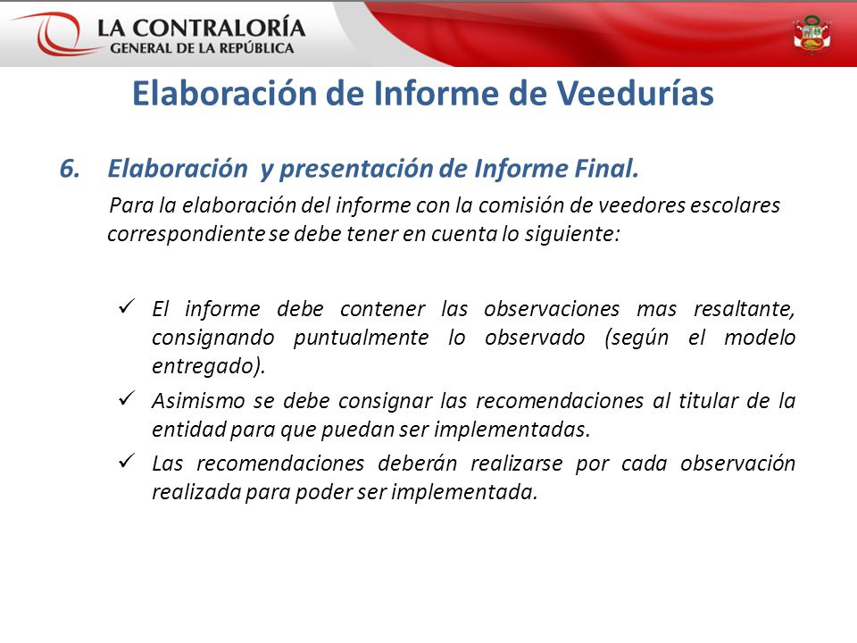 Elaboración de Informe de Veedurías