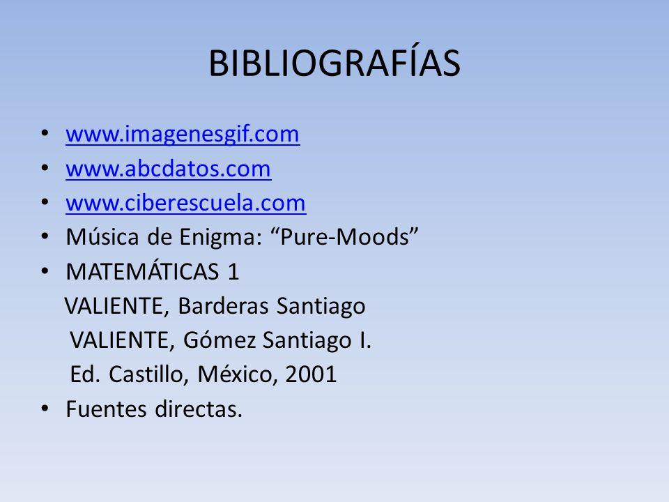 BIBLIOGRAFÍAS www.imagenesgif.com www.abcdatos.com