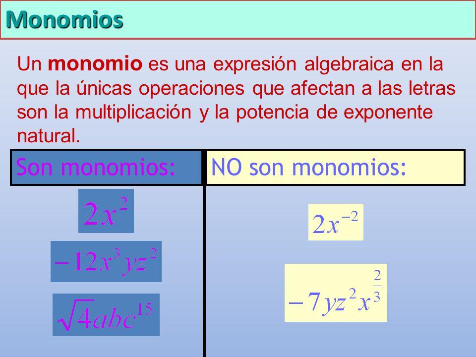 Monomios Son monomios: NO son monomios: