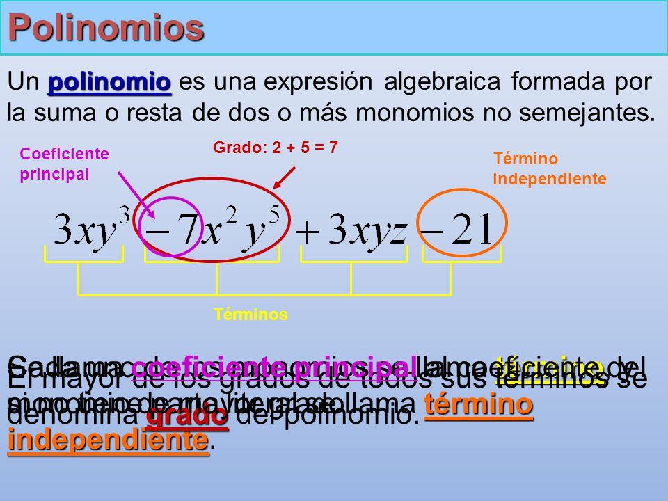 Polinomios Un polinomio es una expresión algebraica formada por la suma o resta de dos o más monomios no semejantes.