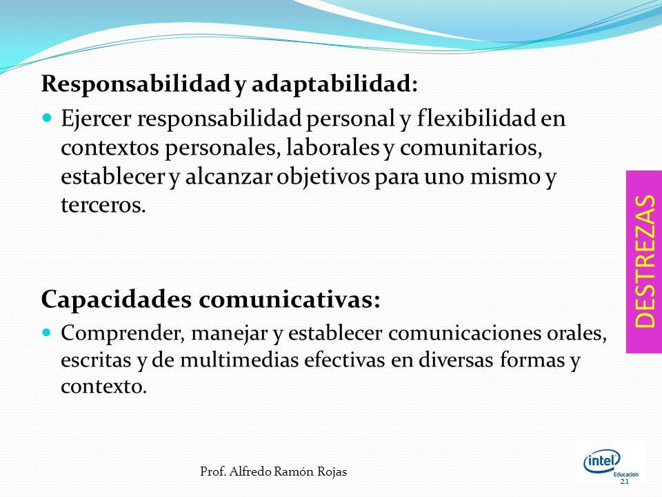 DESTREZAS Capacidades comunicativas: Responsabilidad y adaptabilidad: