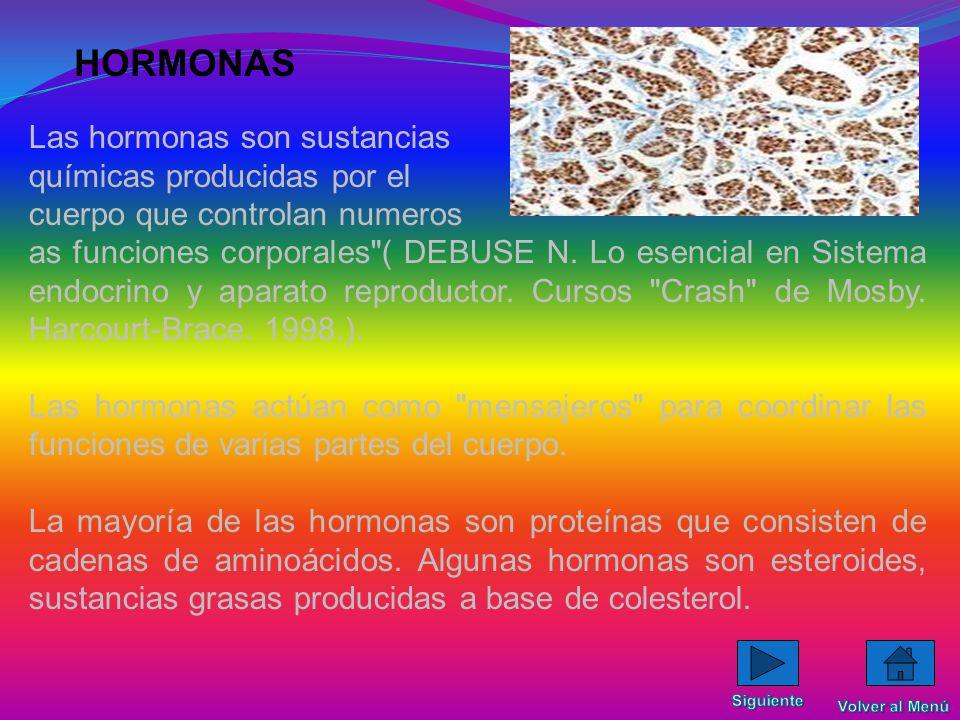 HORMONAS Las hormonas son sustancias químicas producidas por el