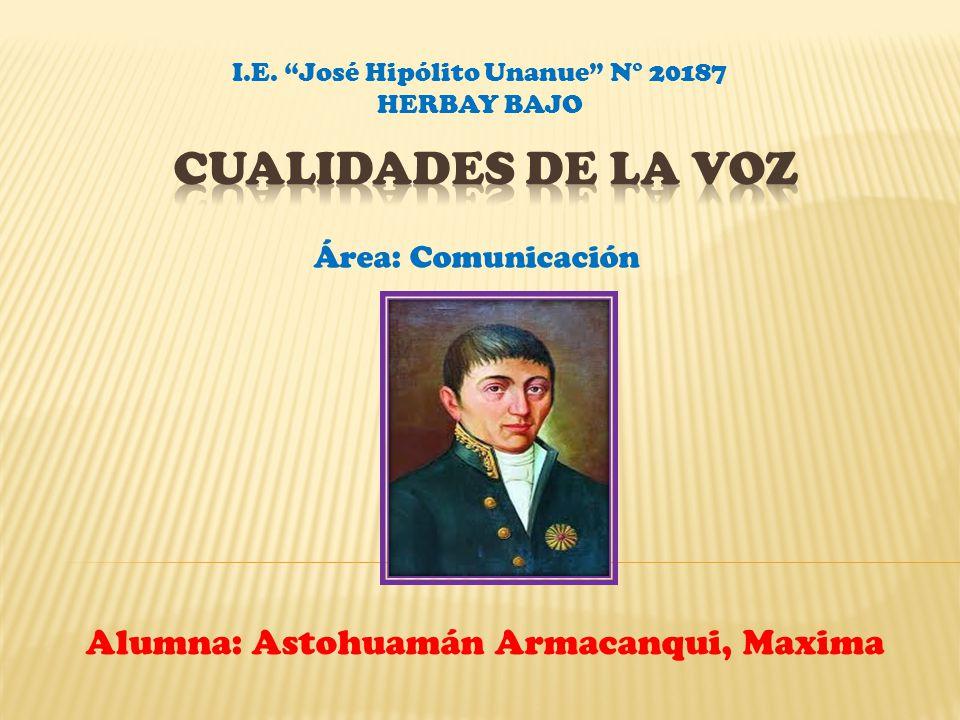 Alumna: Astohuamán Armacanqui, Maxima