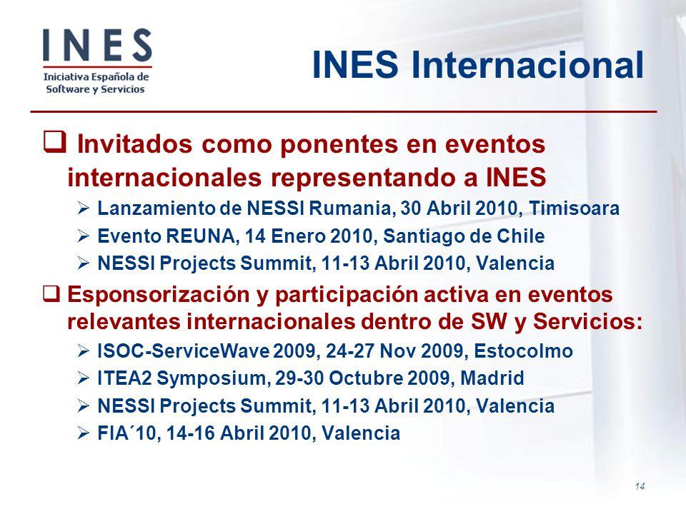 INES Internacional Invitados como ponentes en eventos internacionales representando a INES. Lanzamiento de NESSI Rumania, 30 Abril 2010, Timisoara.