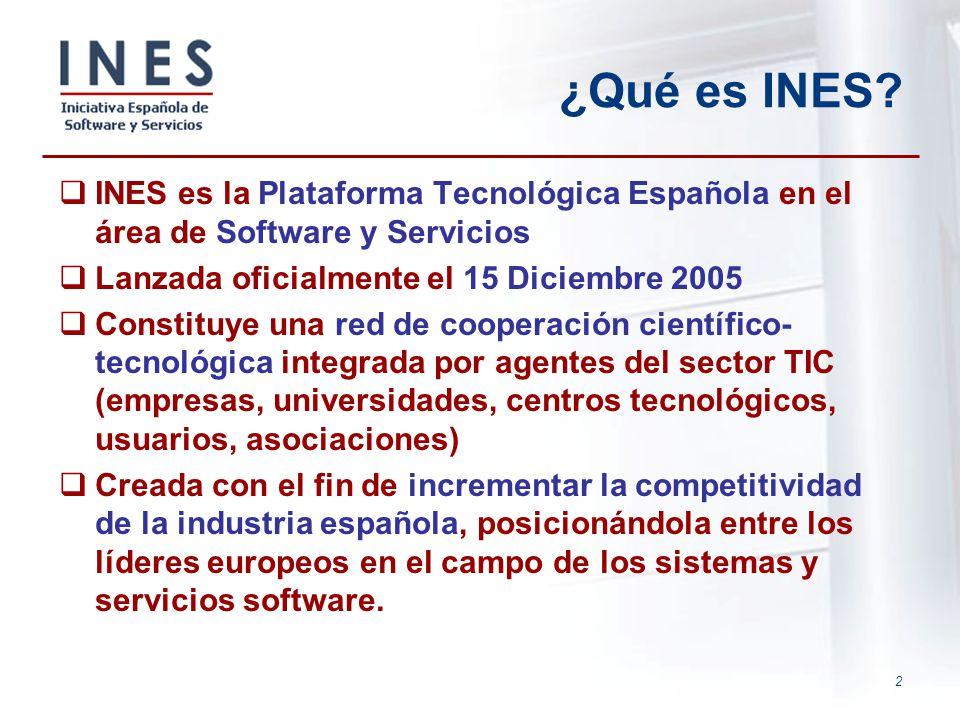 ¿Qué es INES INES es la Plataforma Tecnológica Española en el área de Software y Servicios. Lanzada oficialmente el 15 Diciembre 2005.