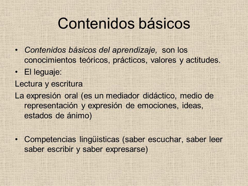 Contenidos básicos Contenidos básicos del aprendizaje, son los conocimientos teóricos, prácticos, valores y actitudes.