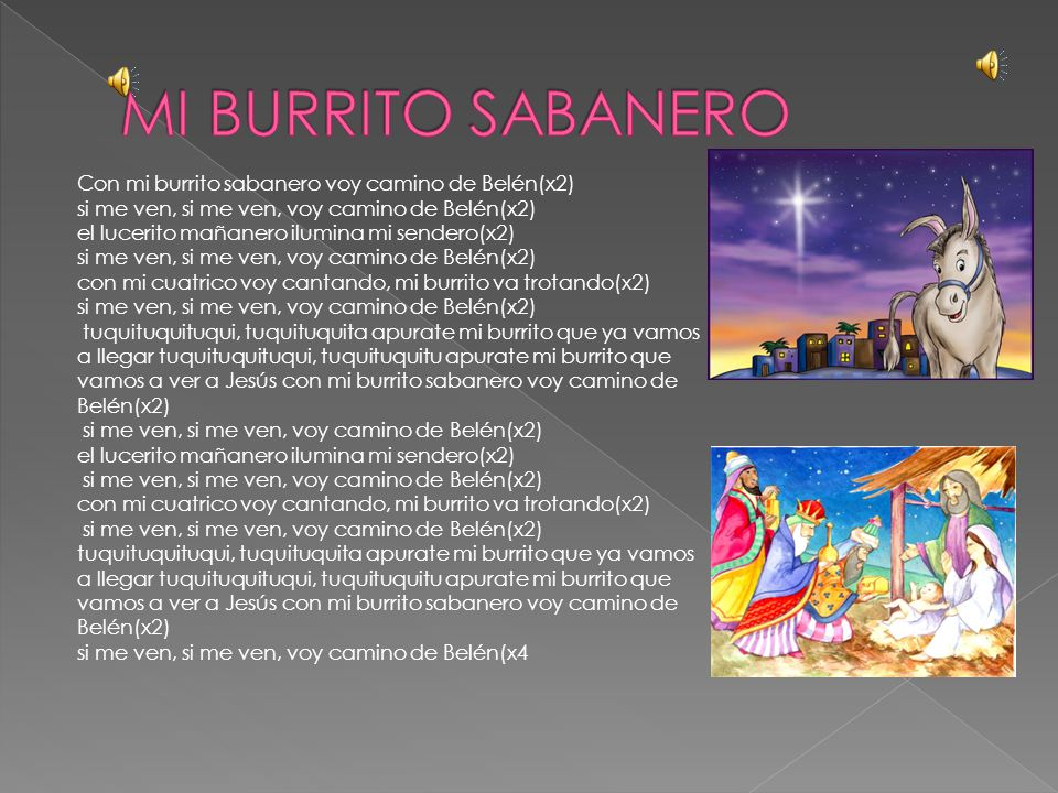 MI BURRITO SABANERO Con mi burrito sabanero voy camino de Belén(x2)