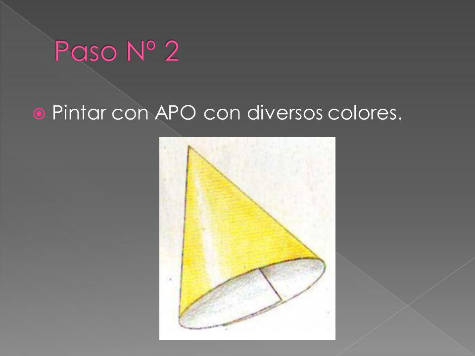 Paso Nº 2 Pintar con APO con diversos colores.