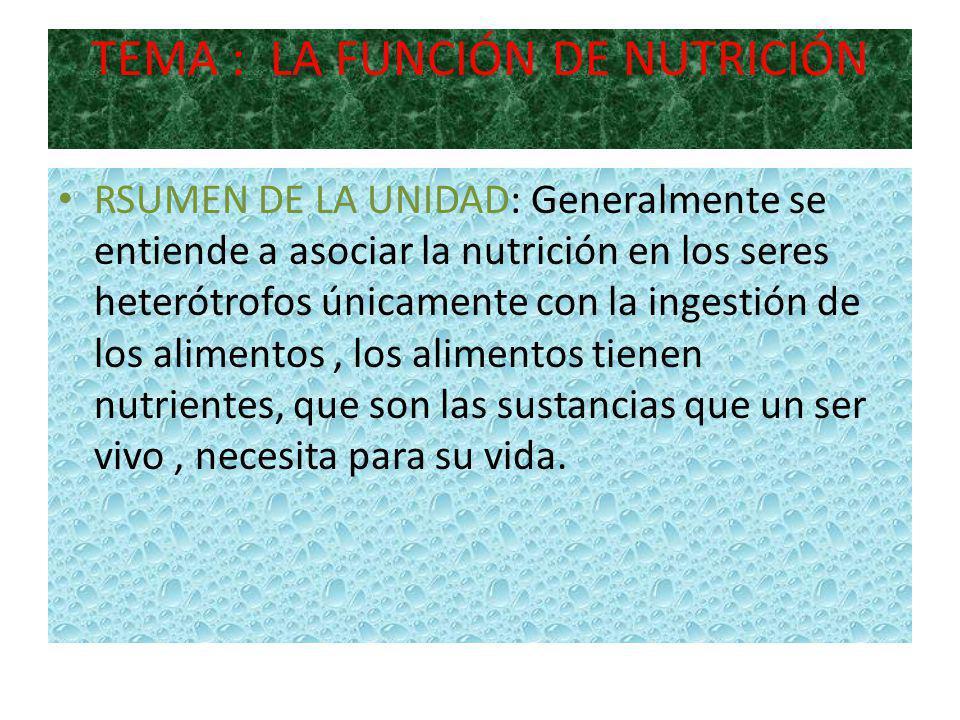 TEMA : LA FUNCIÓN DE NUTRICIÓN