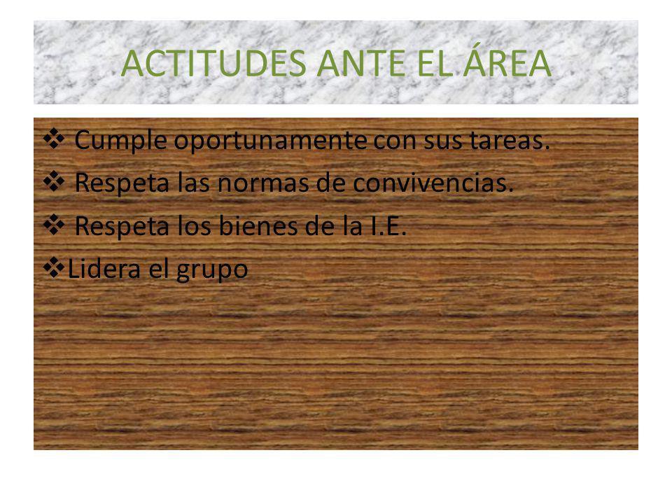ACTITUDES ANTE EL ÁREA Cumple oportunamente con sus tareas.