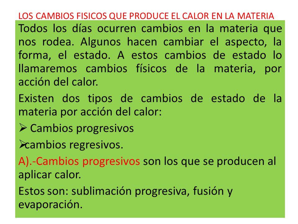 LOS CAMBIOS FISICOS QUE PRODUCE EL CALOR EN LA MATERIA