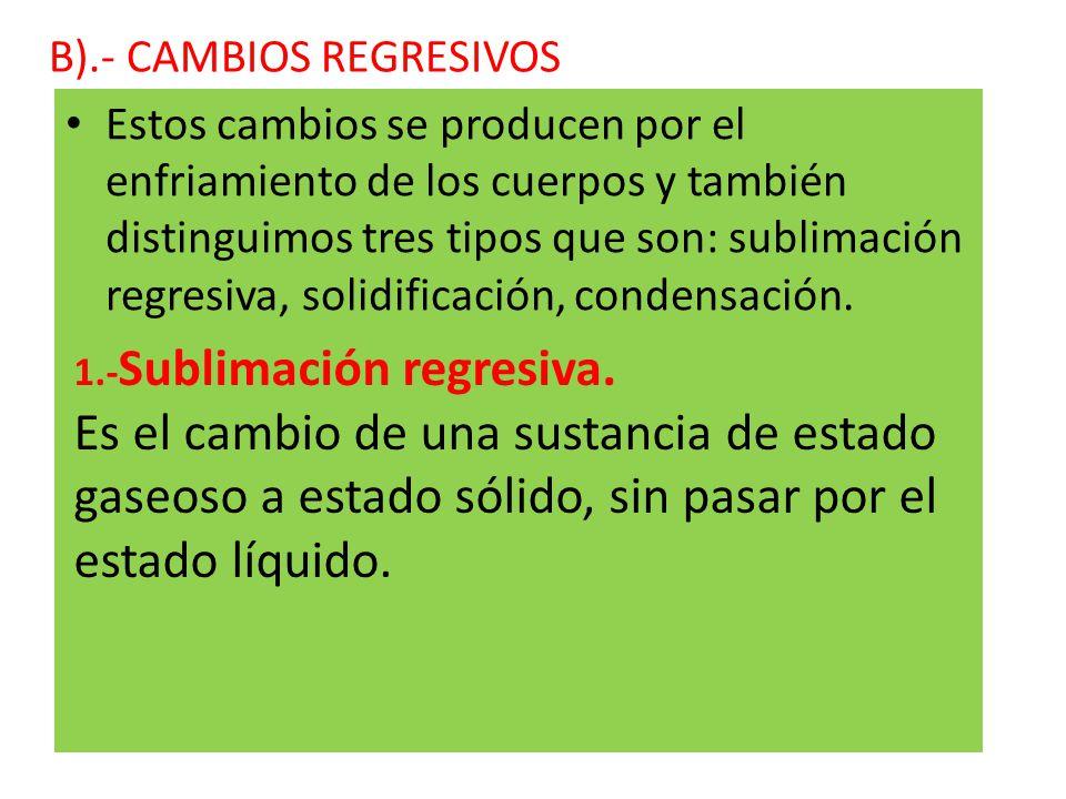 B).- CAMBIOS REGRESIVOS