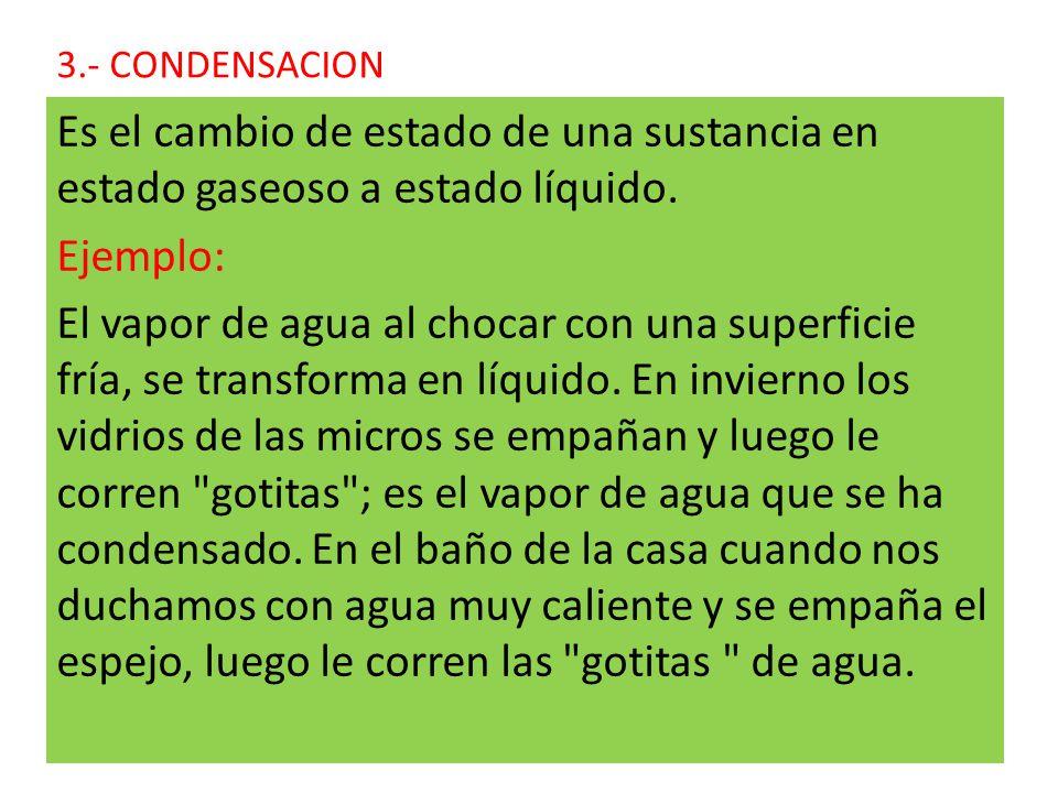 3.- CONDENSACION Es el cambio de estado de una sustancia en estado gaseoso a estado líquido. Ejemplo: