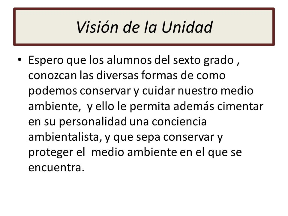 Visión de la Unidad