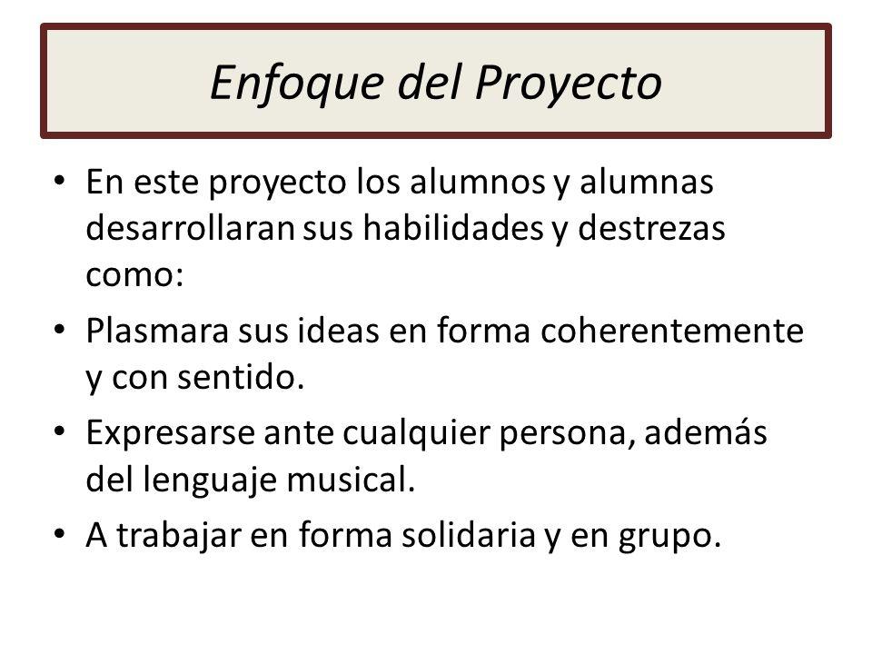 Enfoque del Proyecto En este proyecto los alumnos y alumnas desarrollaran sus habilidades y destrezas como: