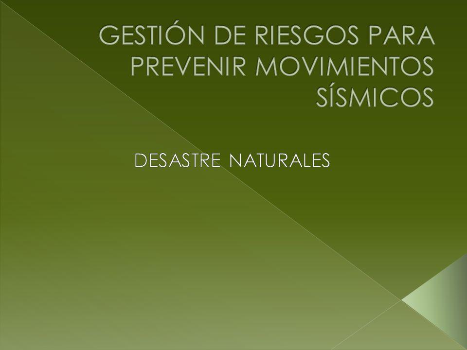 GESTIÓN DE RIESGOS PARA PREVENIR MOVIMIENTOS SÍSMICOS