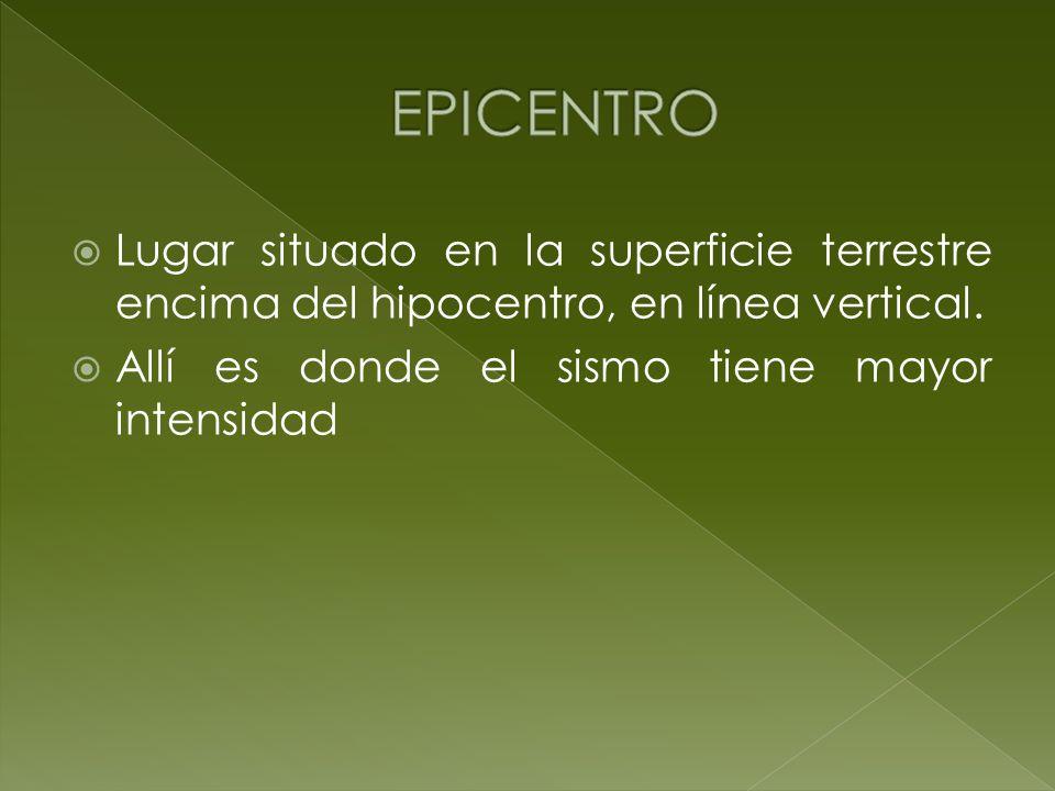 EPICENTRO Lugar situado en la superficie terrestre encima del hipocentro, en línea vertical.