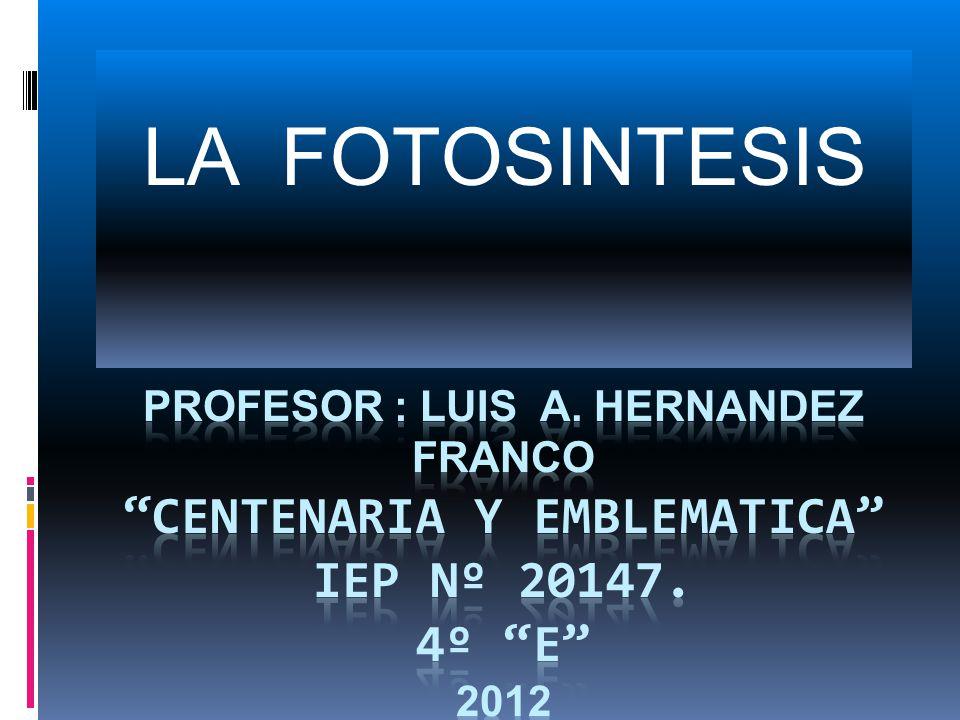 LA FOTOSINTESIS PROFESOR : LUIS A. HERNANDEZ FRANCO CENTENARIA Y EMBLEMATICA IEP Nº 20147.