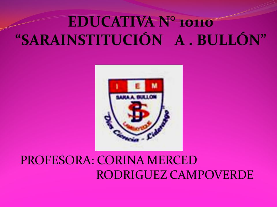 EDUCATIVA N° 10110 SARAINSTITUCIÓN A . BULLÓN