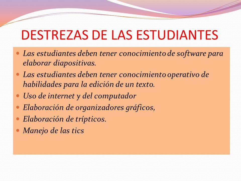 DESTREZAS DE LAS ESTUDIANTES