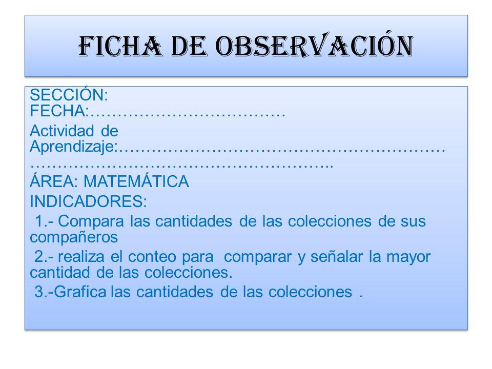 FICHA DE OBSERVACIÓN SECCIÓN: FECHA:………………………………