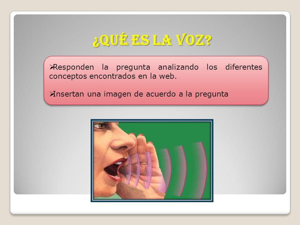 ¿Qué es la voz. Responden la pregunta analizando los diferentes conceptos encontrados en la web.