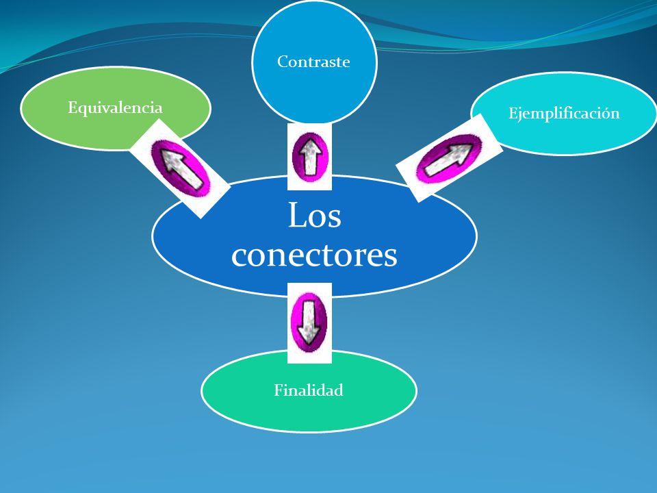 Contraste Equivalencia Ejemplificación Los conectores Finalidad