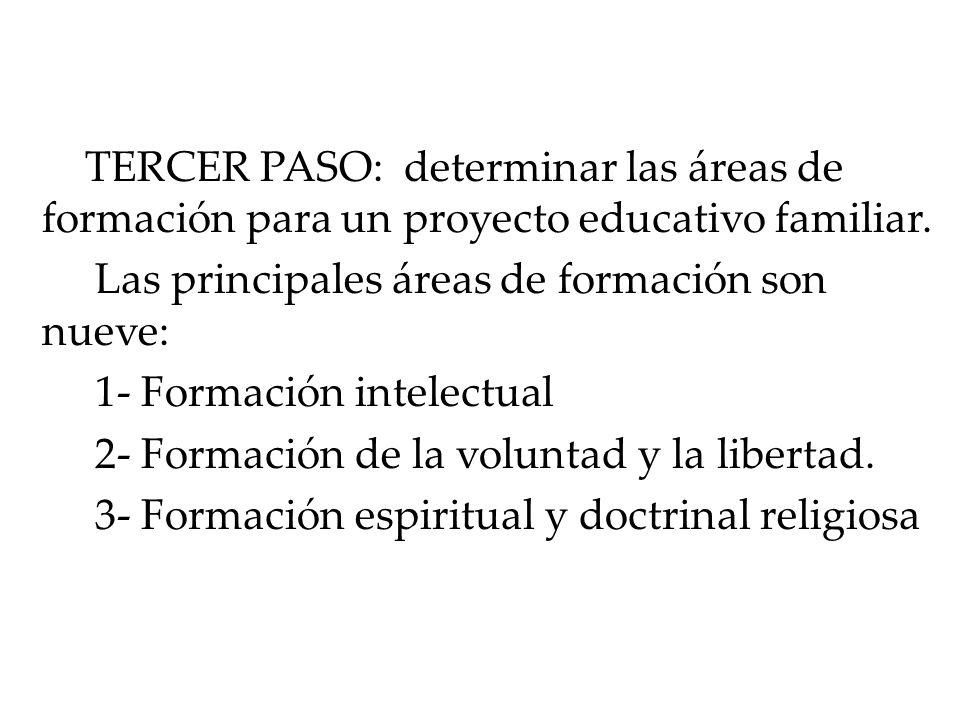 TERCER PASO: determinar las áreas de formación para un proyecto educativo familiar.