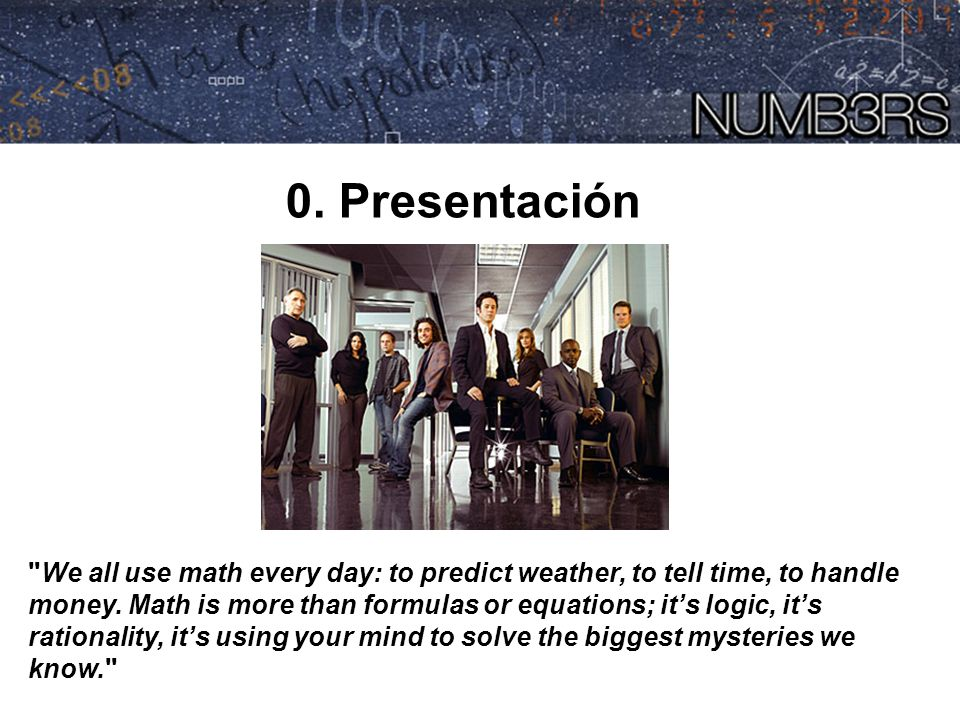 NUMB3RS 0. Presentación.