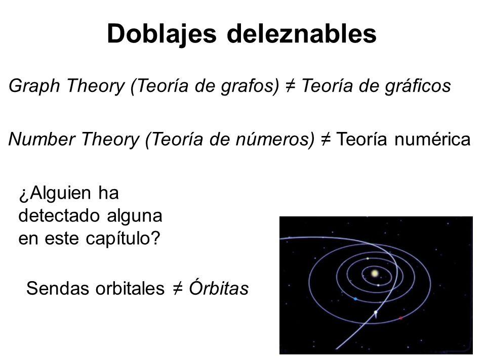 Doblajes deleznables Graph Theory (Teoría de grafos) ≠ Teoría de gráficos. Number Theory (Teoría de números) ≠ Teoría numérica.