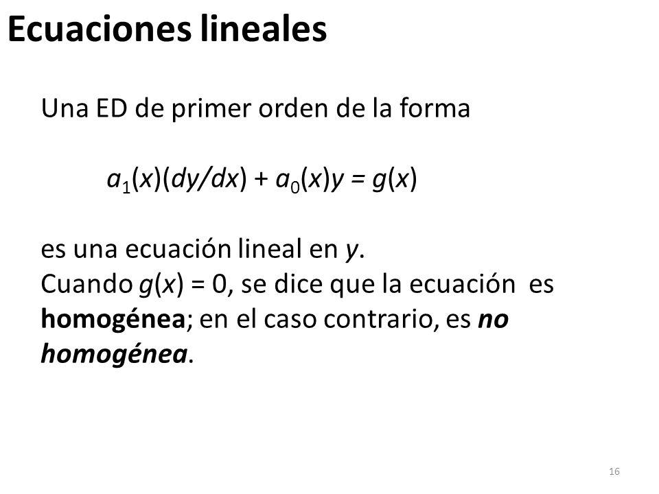 Ecuaciones lineales Una ED de primer orden de la forma