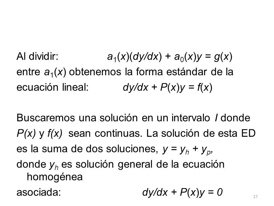 Al dividir: a1(x)(dy/dx) + a0(x)y = g(x)