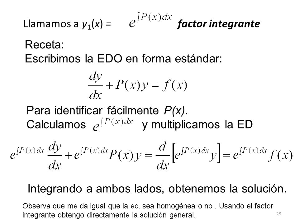 Llamamos a y1(x) = factor integrante