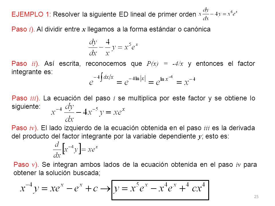 EJEMPLO 1: Resolver la siguiente ED lineal de primer orden