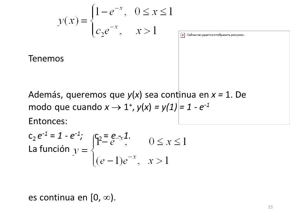 Tenemos Además, queremos que y(x) sea continua en x = 1