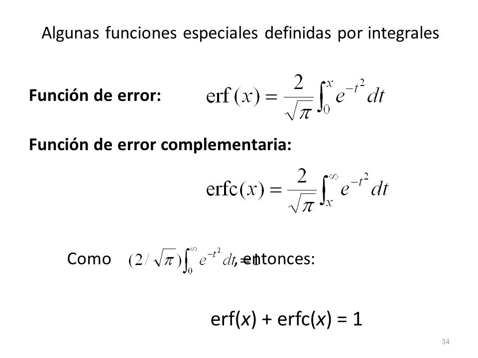 Algunas funciones especiales definidas por integrales