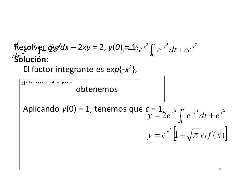 Resolver dy/dx – 2xy = 2, y(0) = 1.