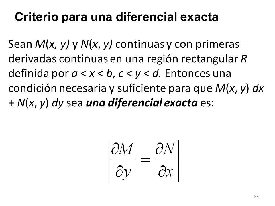 Criterio para una diferencial exacta
